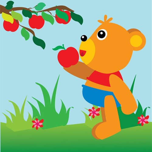 The bear found an apple and ate it.