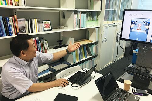 宍戸教授による教材アプリのデモンストレーション