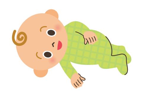 ずりばいの前にみられる動作:寝返り(4~6カ月頃)