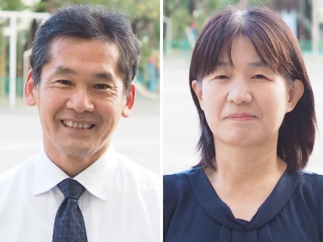 今野淳一校長(写真 左)、今関光枝副校長(写真 右)