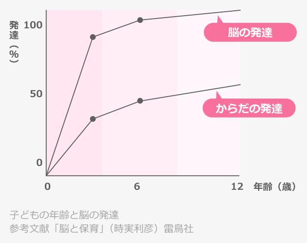 """以下で説明する「子どもの年齢と脳の発達」を示すグラフ — """" 参考文献「脳と保育」(時実利彦)雷鳥社"""""""